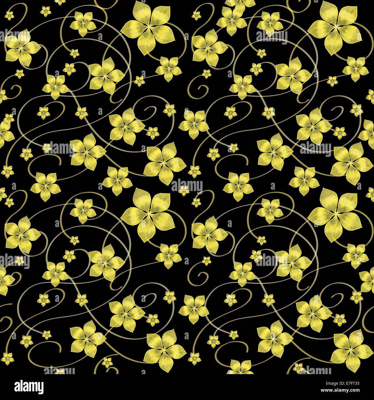 Modèle sans couture. Fleurs d'or sur fond noir. Photo Stock