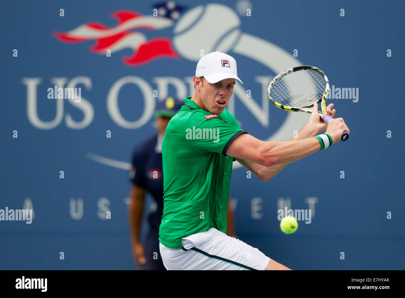 Flushing Meadows, New York, USA. 30e Août, 2014. Sam Querrey (USA) dans l'action 3 tour à l'US Photo Stock