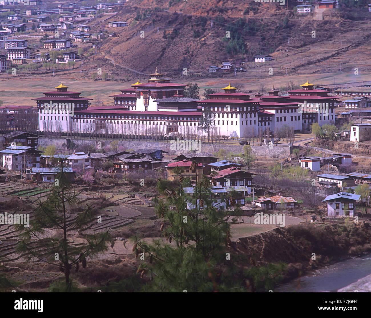 Salle du trône du roi, Assemblée Nationale, Tashichhodzong, Thimphu, Bhoutan Photo Stock