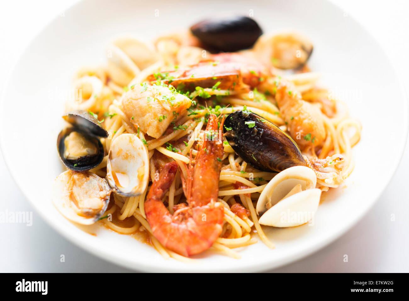 Plat de pâtes de fruits de mer détail Photo Stock