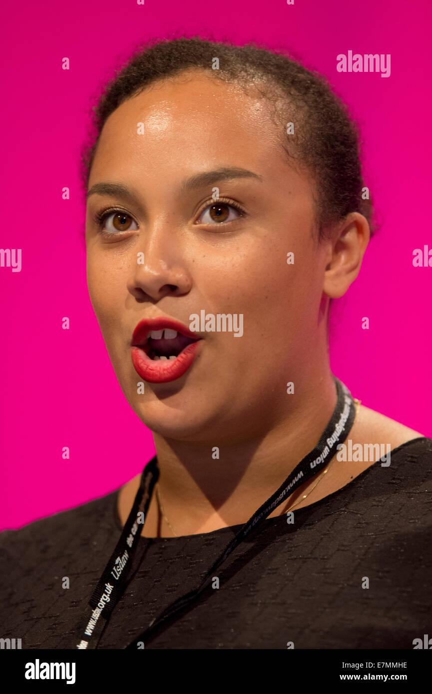 Manchester, UK. Sep 21, 2014. Jury-Dada Samantha, Noirs, Asiatiques et les minorités ethniques, les étudiants Photo Stock