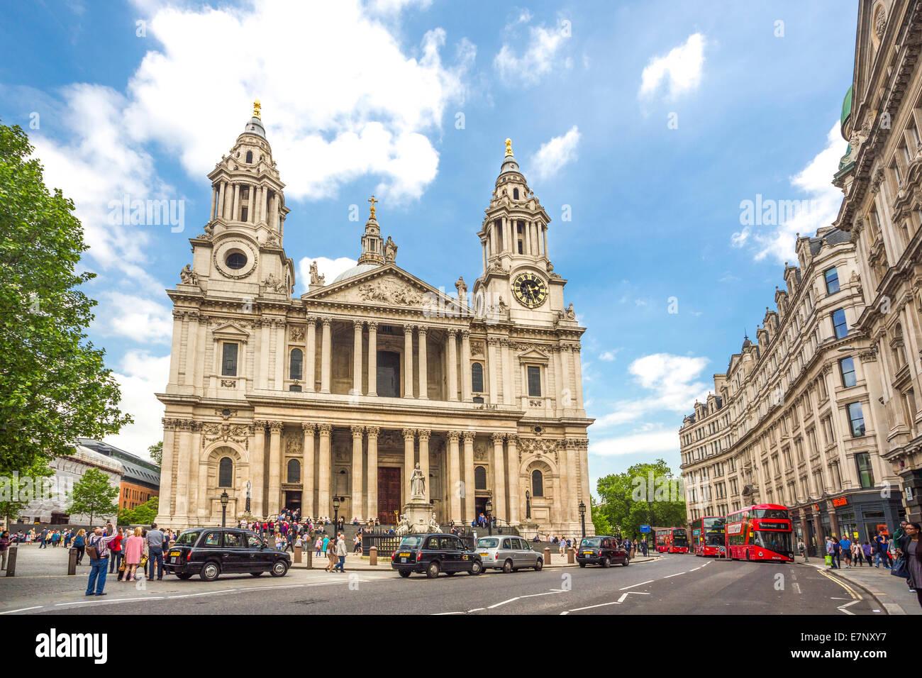 Avenue, Building, Cathédrale, ville, Londres, Angleterre, Royaume-Uni, Saint Paul, l'architecture, l'histoire, Photo Stock