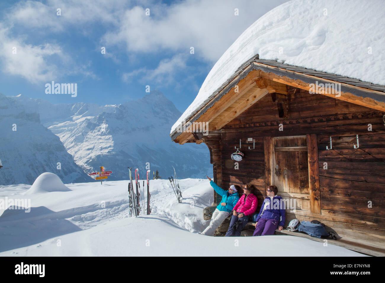 Ski, station touristique, Grindelwald, Ridge, Eigers, montagne, montagnes, ski, ski de fond, carving, hiver, sports Photo Stock
