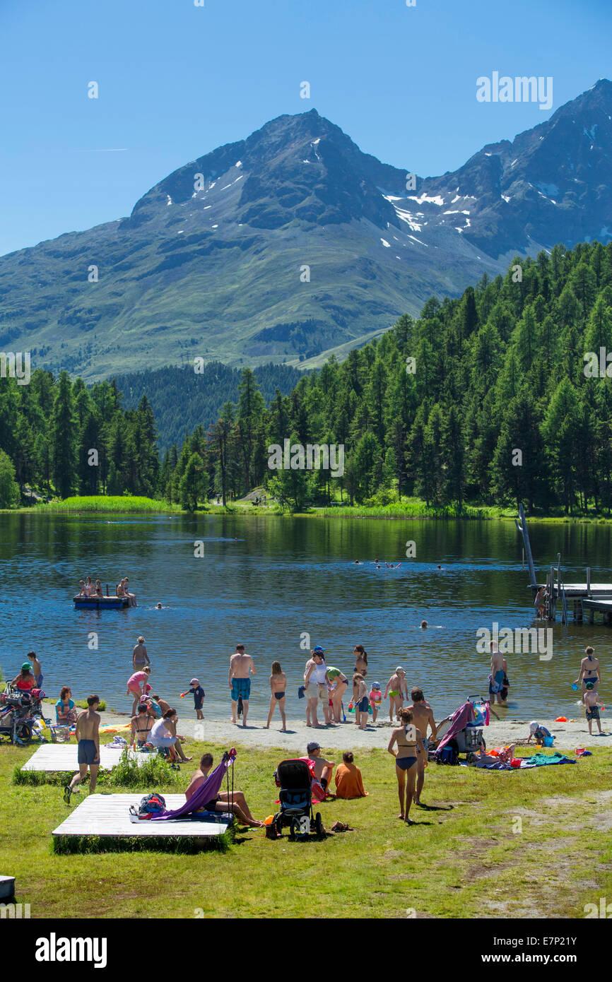 L'Engadine, Engadine, Baden, Statzersee, lac, Saint Moritz, Saint-Moritz, lac de montagne, canton, GR, Grisons, Photo Stock
