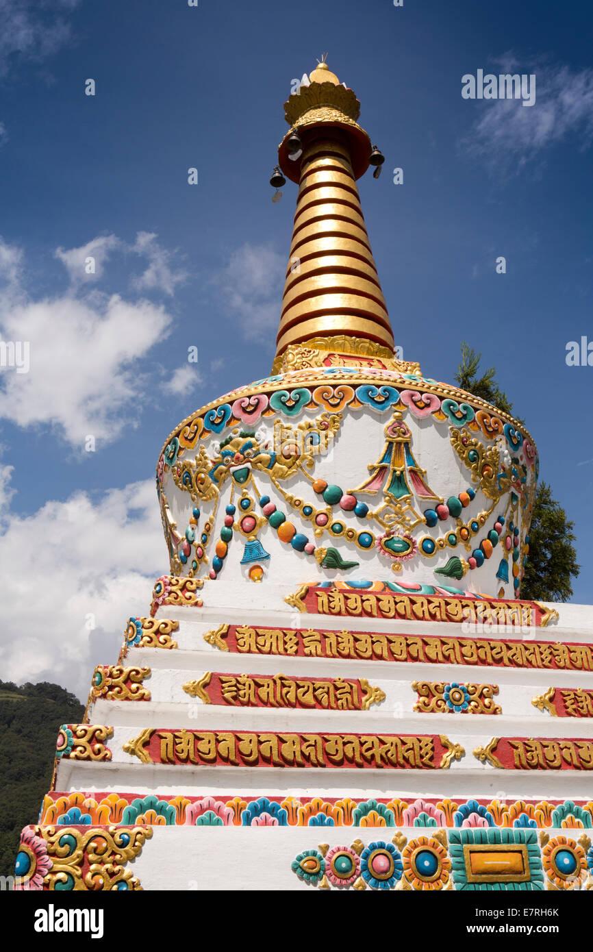 L'est du Bhoutan, Trashi Yangtse, monastère, décorés, motif chorten Photo Stock