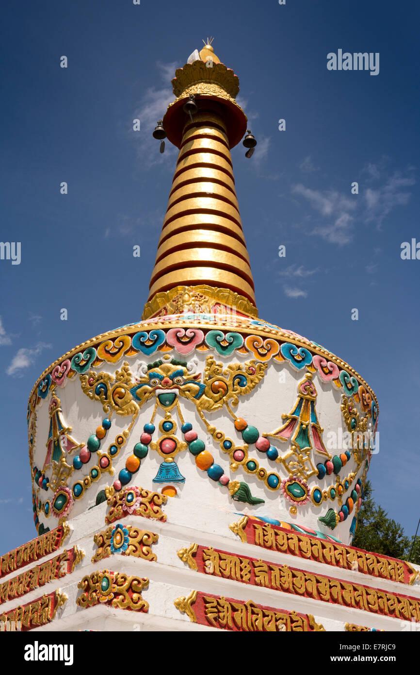 L'est du Bhoutan, Trashi Yangtse, monastère, décorés, detauil profil chorten Photo Stock