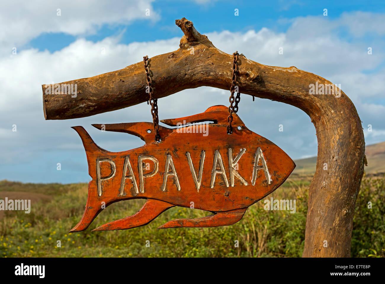 La marque d'une les pétroglyphes, Papa Vaka, île de Pâques, Chili Photo Stock