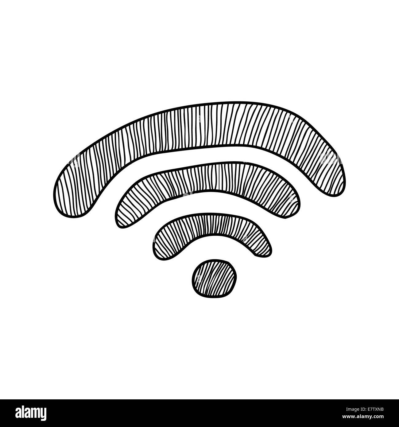 Une connexion Wi-Fi gratuite doodle sign Photo Stock