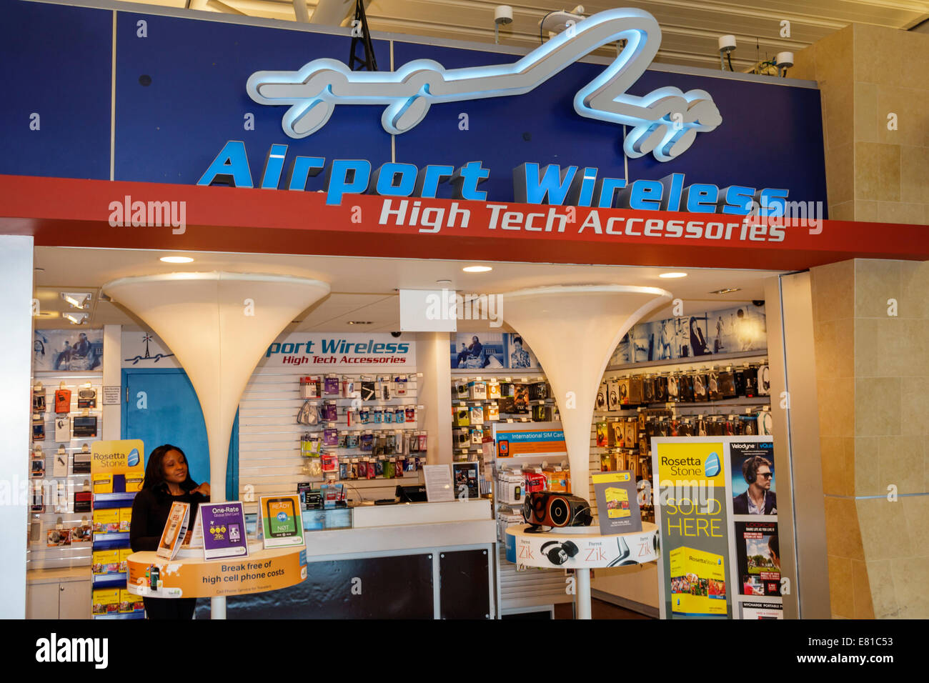 New York New York, John F. Kennedy International Airport Terminal JFK Concourse Gate espace shopping Accessoires Photo Stock