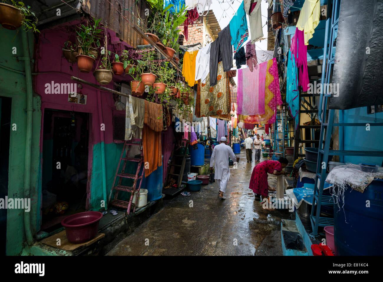 Ruelle, Dharavi Slum, Mumbai, Maharashtra, Inde Photo Stock