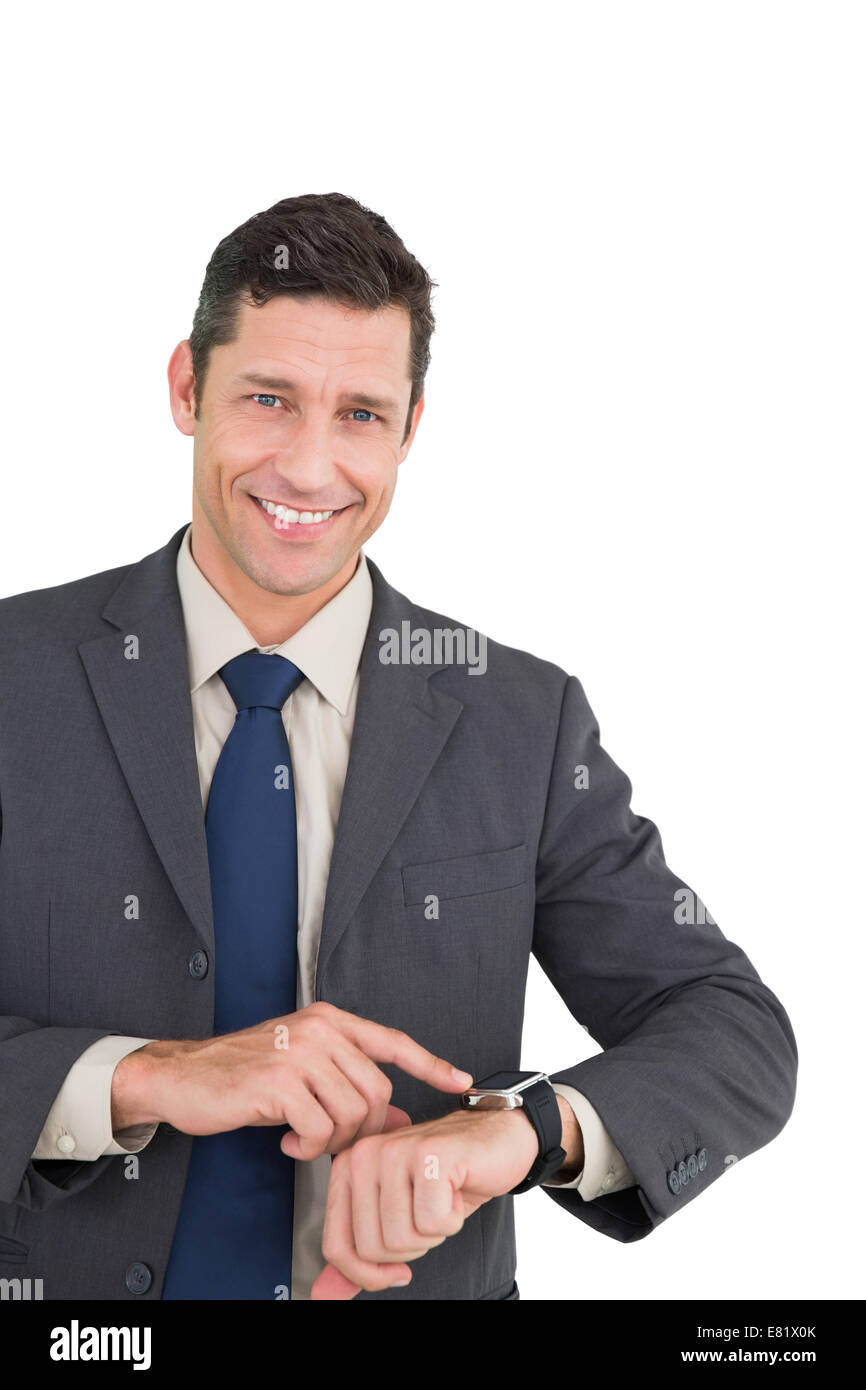 Portrait son smart watch and smiling at camera Photo Stock