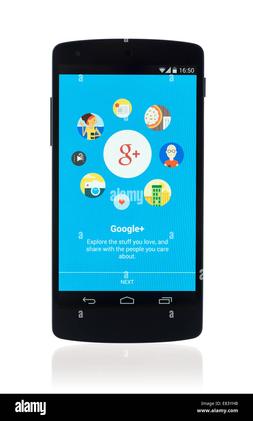 Studio shot of tout nouveau Google Nexus 5, propulsé par Android 4.4, version avec Google Plus mobile sur un écran. Banque D'Images