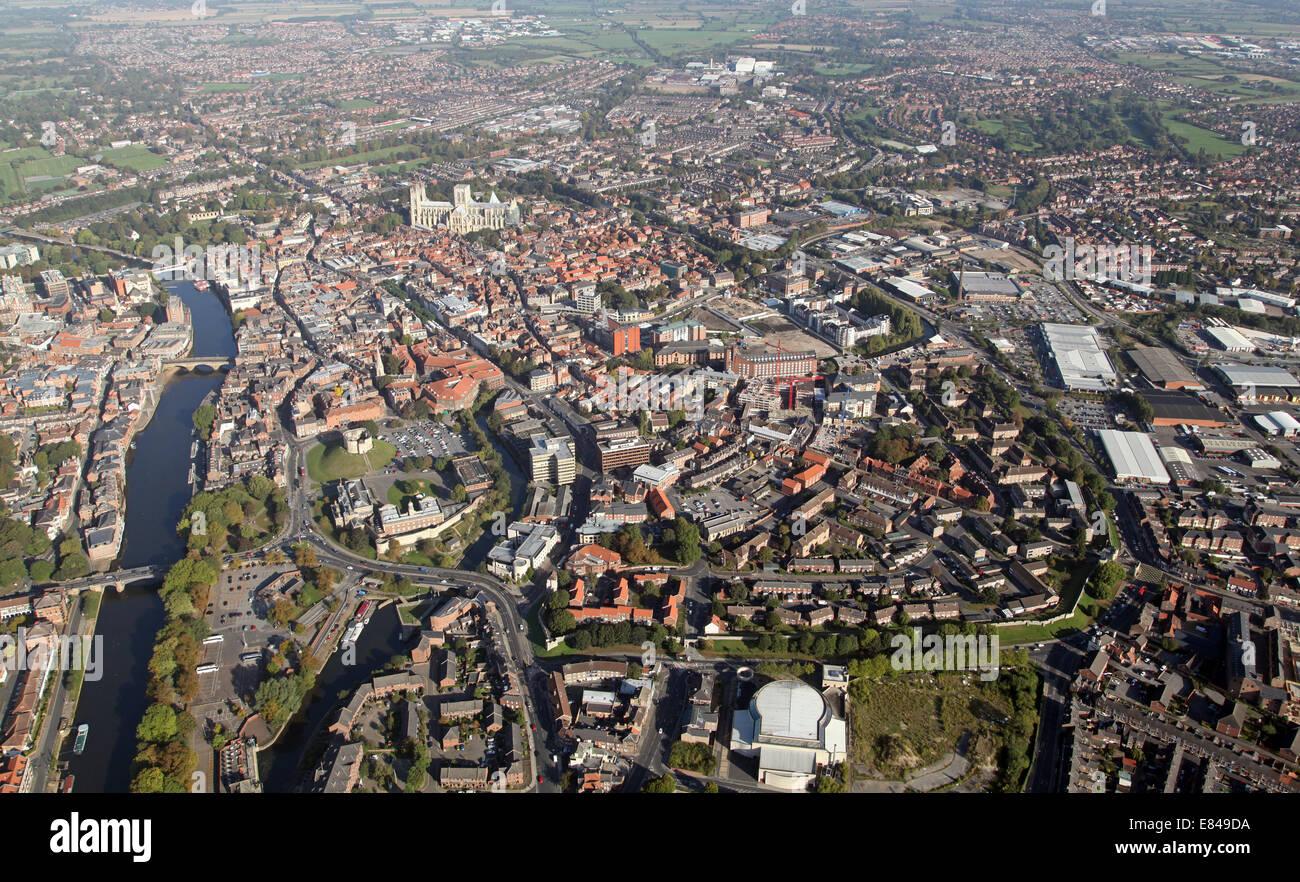 Vue aérienne de la ville de York, North Yorkshire, UK Photo Stock