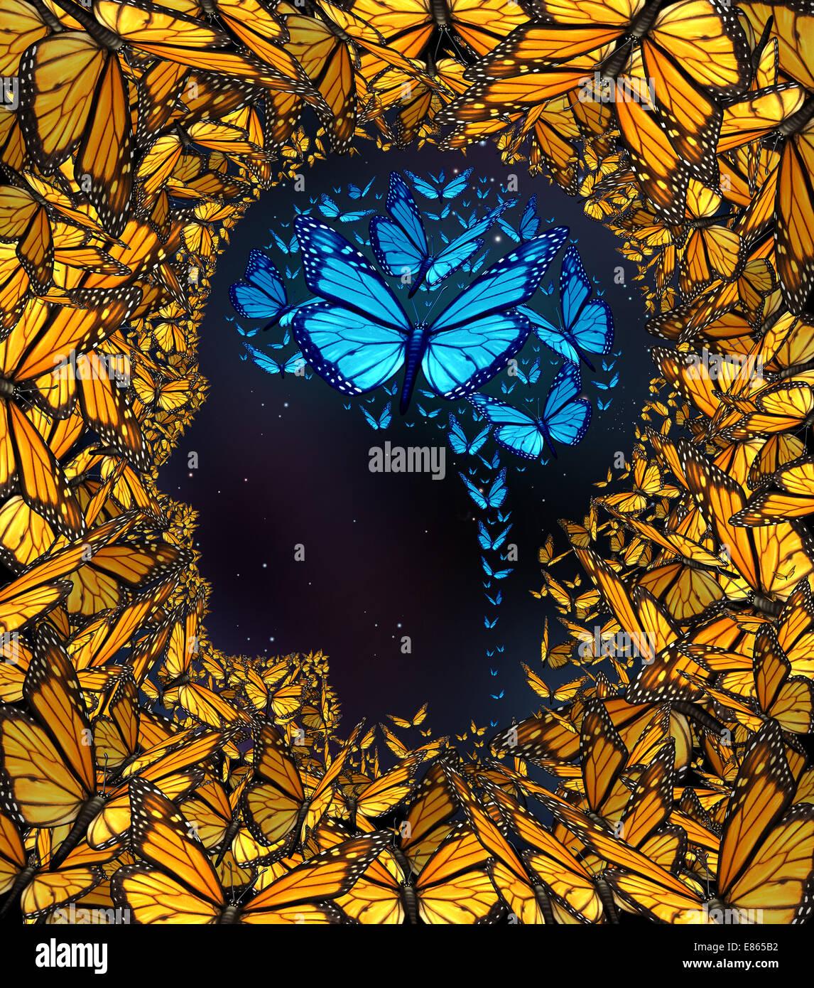 Concept de l'inspiration et la pensée comme métaphore potentiels un groupe de papillons dans la forme Photo Stock