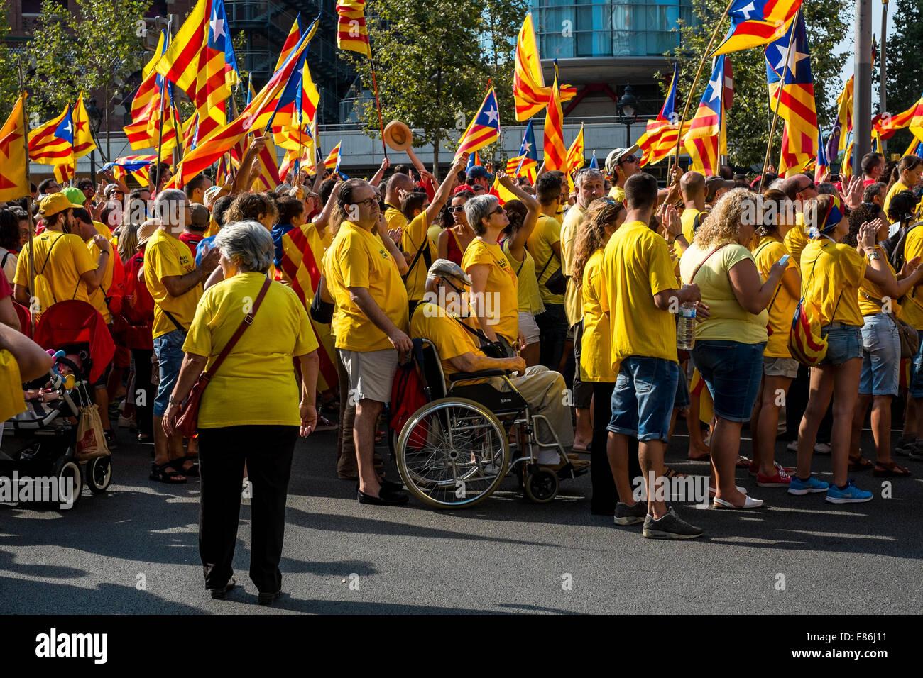Photos de la marche pour l'indépendance catalane de Barcelone en 11 septembre 2014. Photo Stock