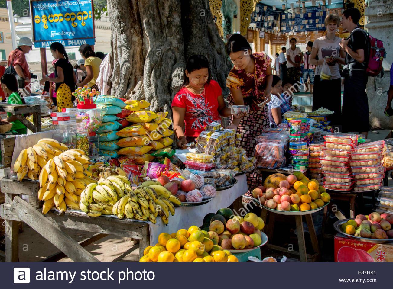 Scène de rue à Yangon, Myanmar (Birmanie), Rangoon Banque D'Images