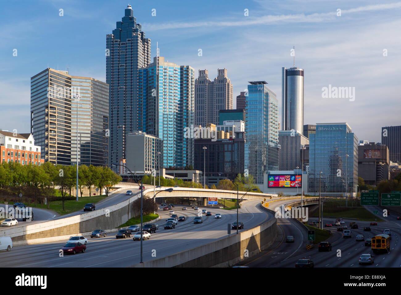 L'Interstate I-85 qui mène dans le centre-ville d'Atlanta, Géorgie, États-Unis d'Amérique, Photo Stock