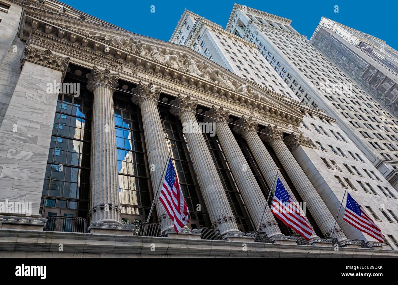 New York Stock Exchange NYSE situés dans 11 Wall Street dans le quartier financier de Manhattan à New Photo Stock