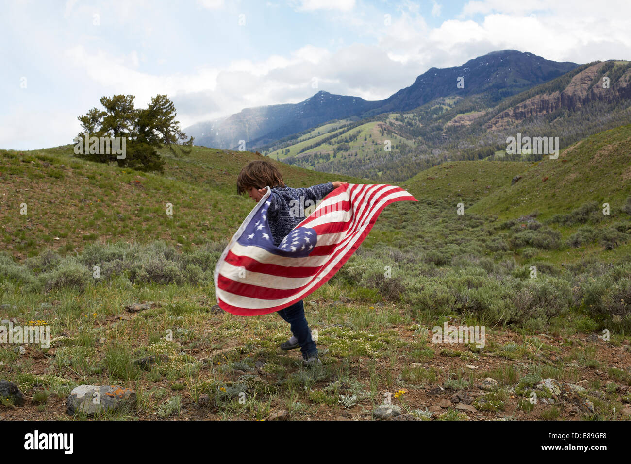 Boy holding American flag en collines Photo Stock
