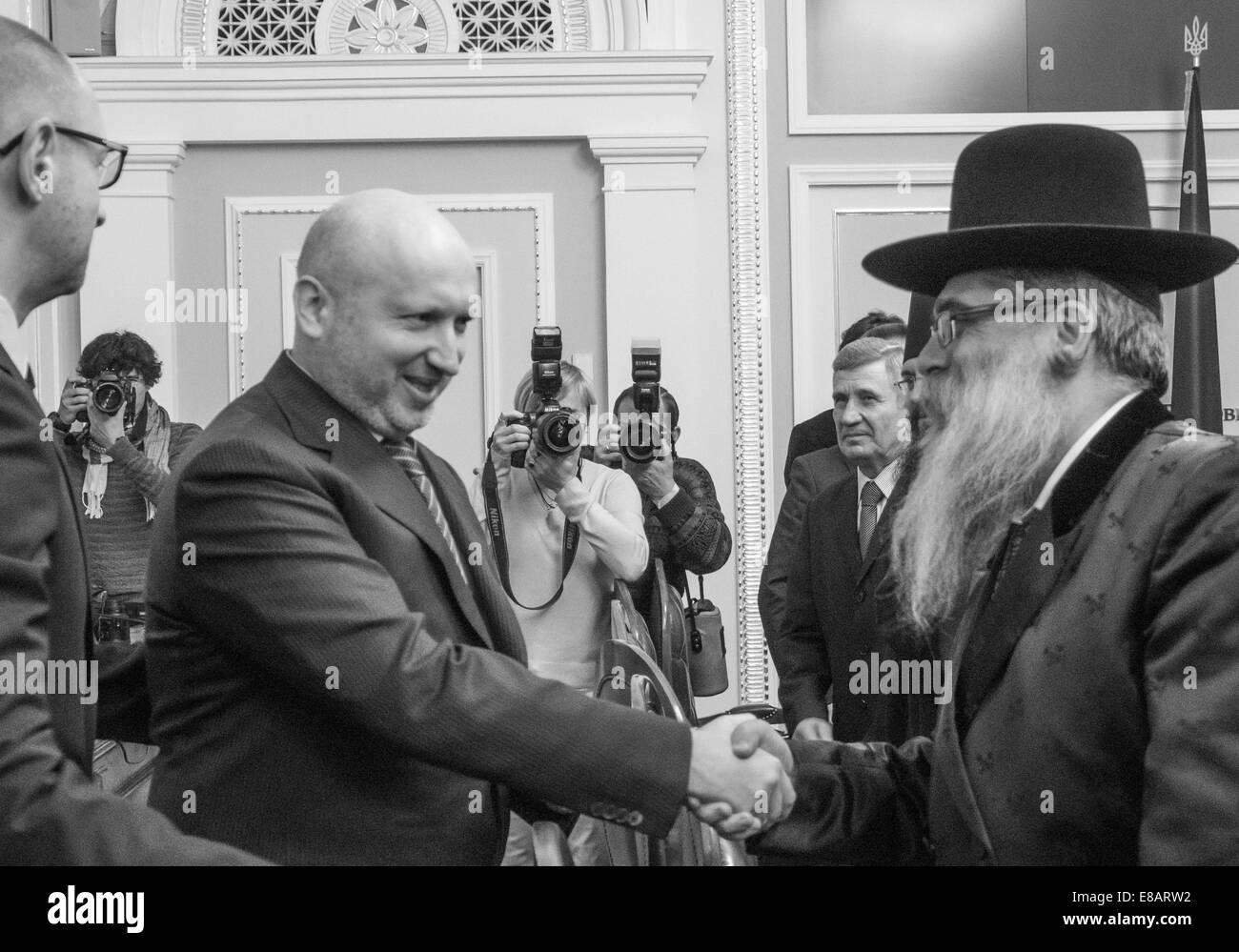 3 octobre 2014 - Le Premier Ministre d'Ukraine Arseni Iatseniouk et président de la Verkhovna Rada de Lukraine Photo Stock