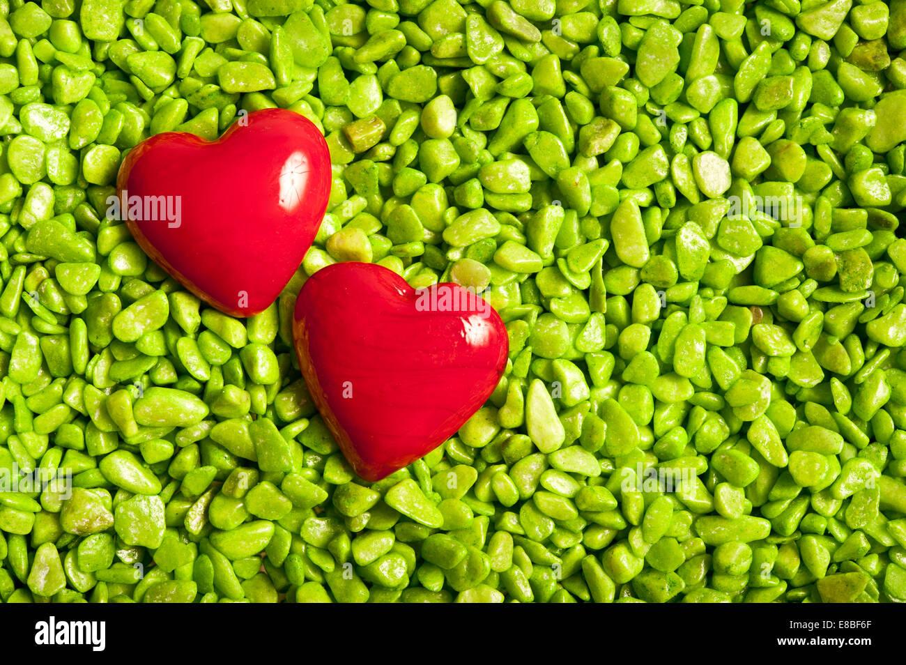 Deux coeurs de la Saint-Valentin, l'amour des formes concept Photo Stock
