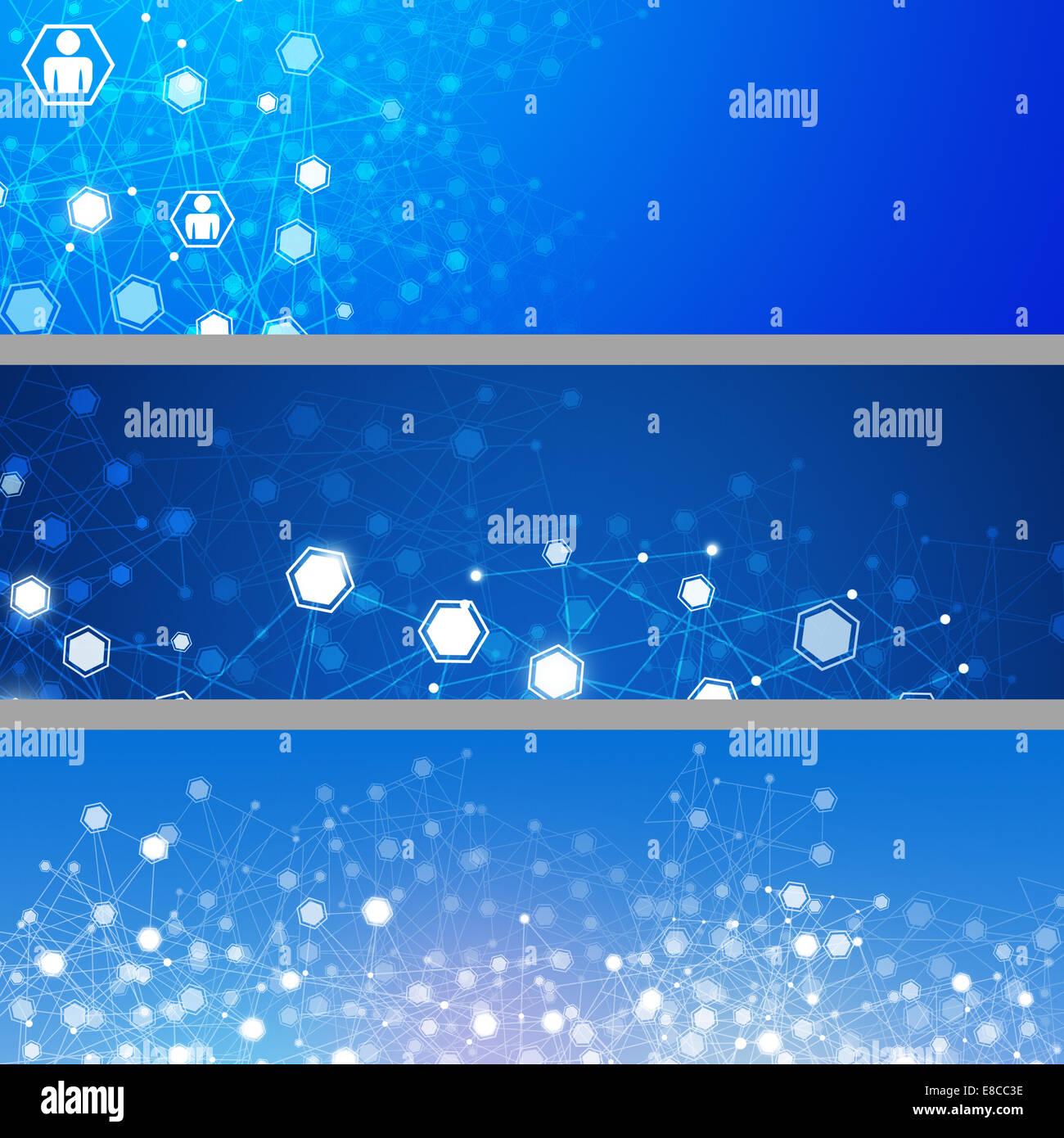 Technologie concept abstrait géométrique des bannières réseau connexions Photo Stock