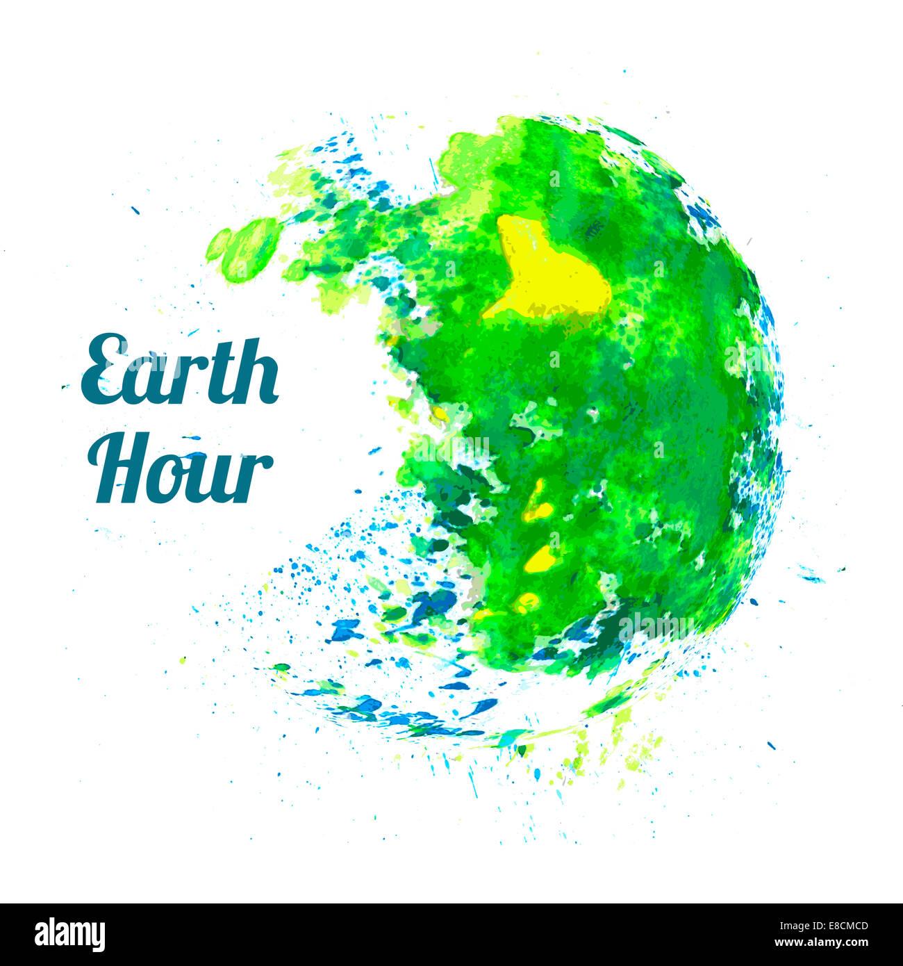 L'illustration pour l'heure de la Terre Photo Stock