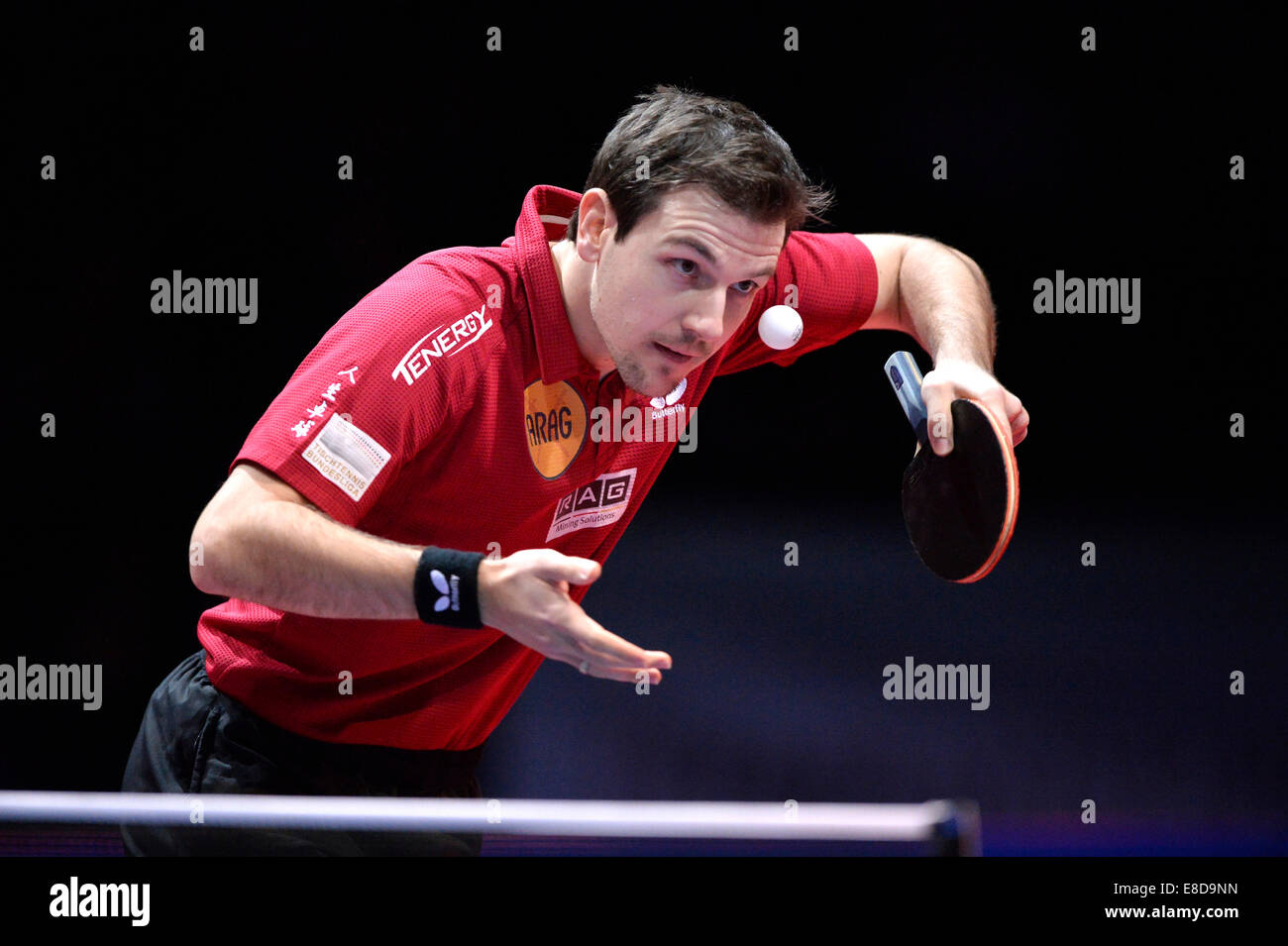 Timo Boll, GER, Tennis de Table, finale de la Coupe du stade Porsche, Stuttgart, Bade-Wurtemberg, Allemagne Photo Stock