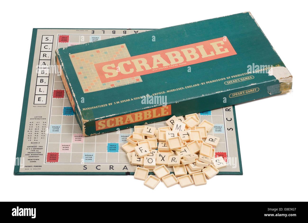 Un original vintage jeu de Scrabble Par Spears Games Photo Stock