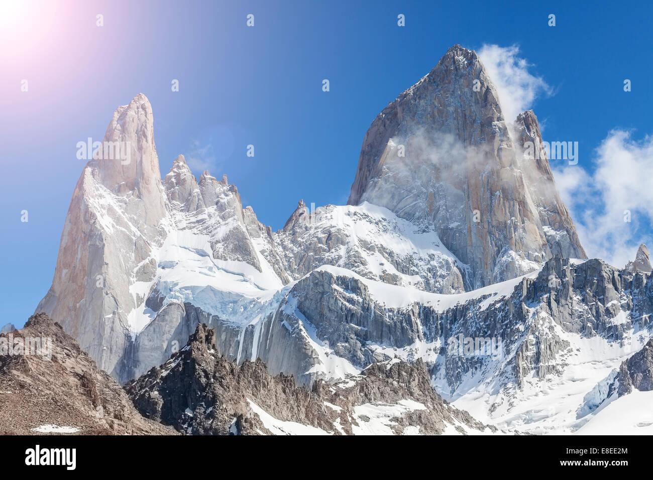 Plus de soleil, la montagne Fitz Roy Patagonie en Argentine. Photo Stock