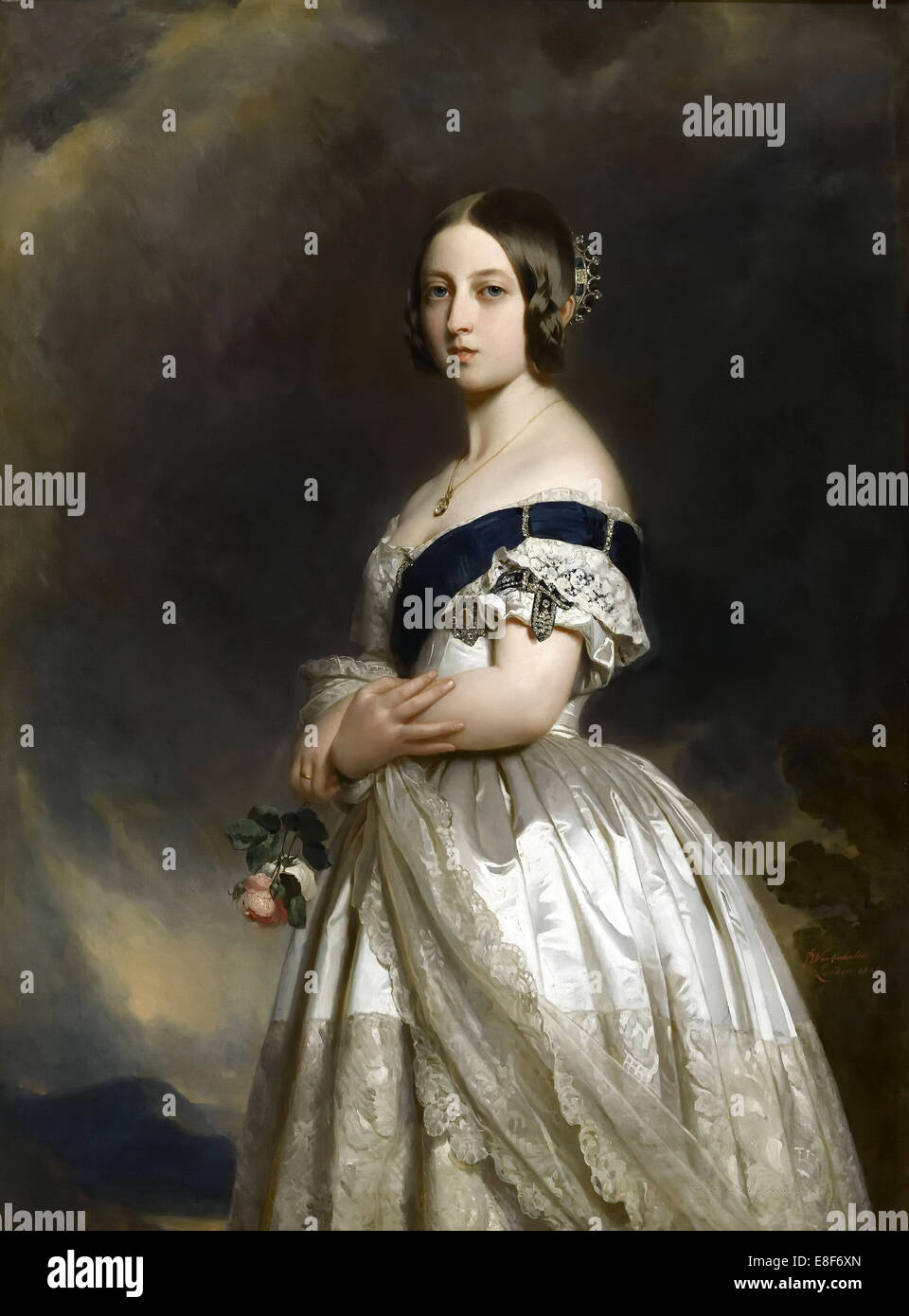 Portrait de la reine Victoria. Artiste: Winterhalter, Franz Xavier (1805-1873) Photo Stock