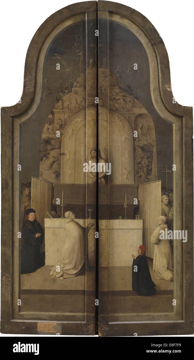 L'Adoration des Rois. (Triptyque, marche arrière). Artiste: Bosch, Hieronymus (ch. 1450-1516) Photo Stock