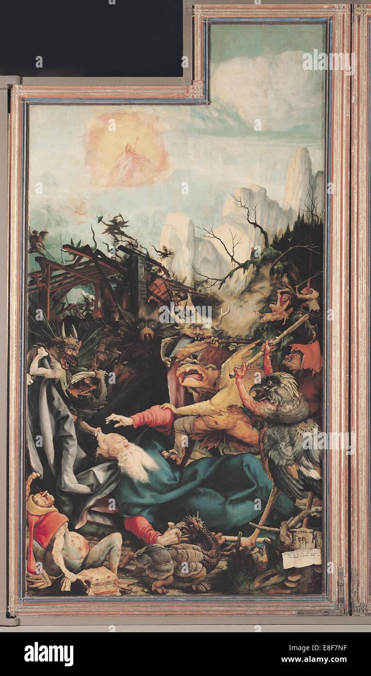 Le retable d'Issenheim. Aile droite: La Tentation de Saint Antoine. Artiste: Matthias Grünewald, Photo Stock