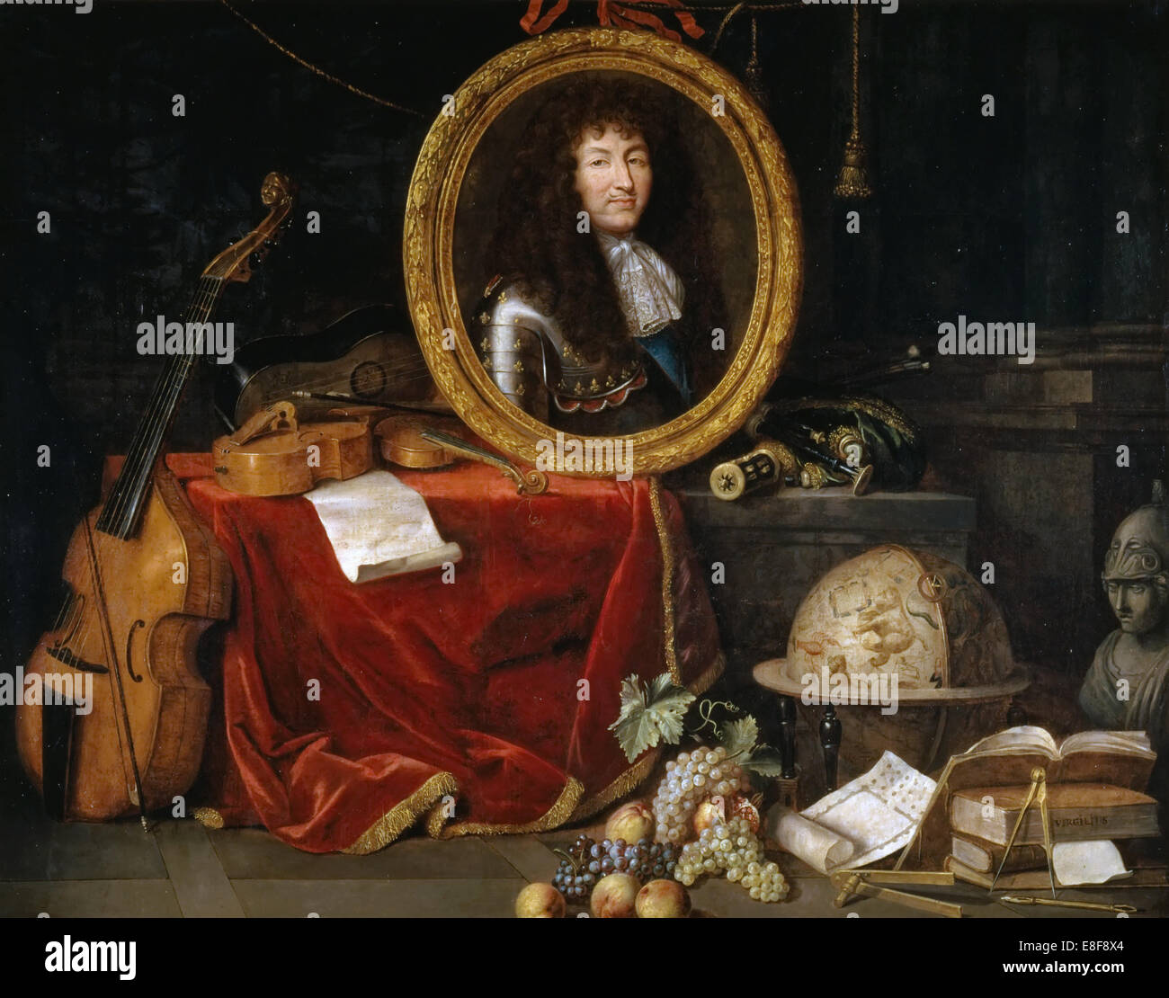 Allégorie de Louis XIV, protecteur des arts et des Sciences. Artiste: Garnier, Jean (1632-1705) Banque D'Images