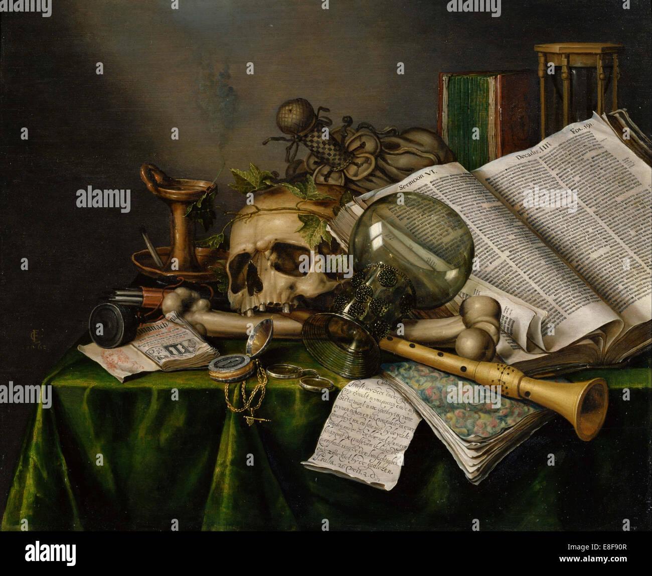 Vanitas. La vie toujours avec des livres, des manuscrits et un crâne. Artiste: Collier, Edward (actif Photo Stock