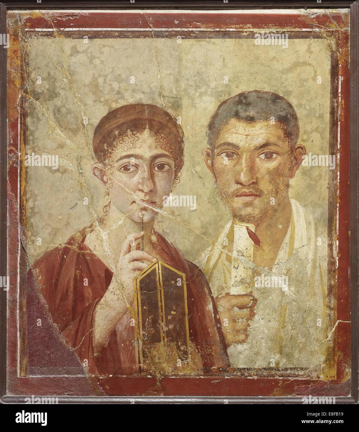 Portrait de l'baker Terentius neo et son épouse. La peinture murale de l'artiste: Roman-Pompeian Photo Stock