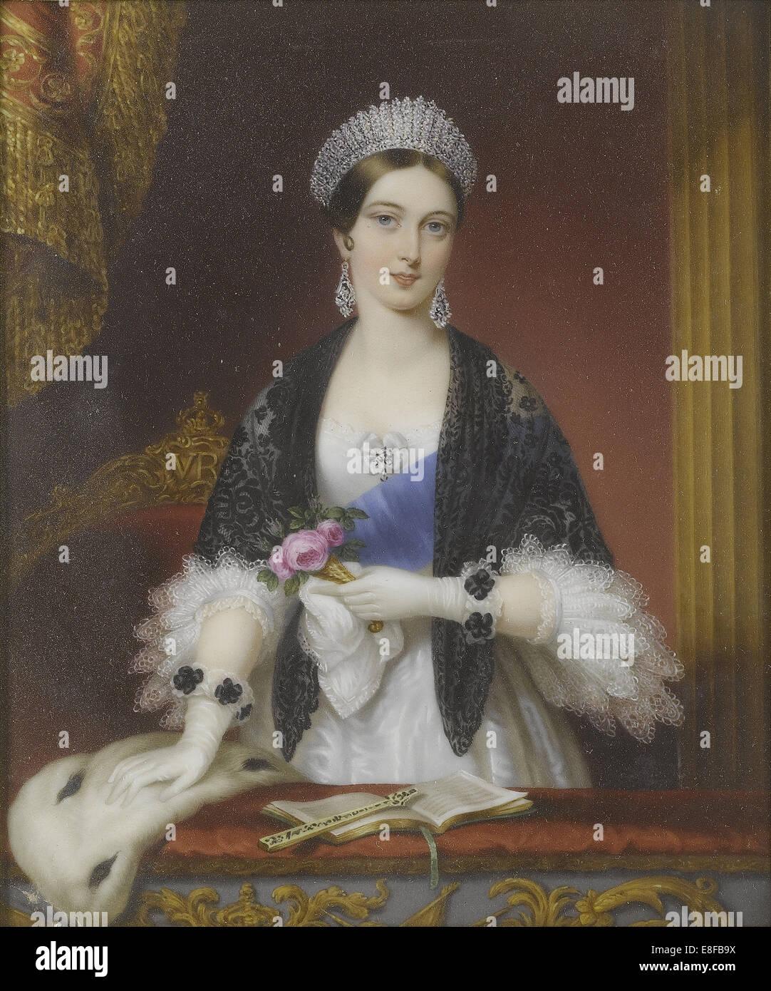 La reine Victoria dans la loge royale au Théâtre de Drury Lane en novembre 1837. Artiste: Liénard, Photo Stock
