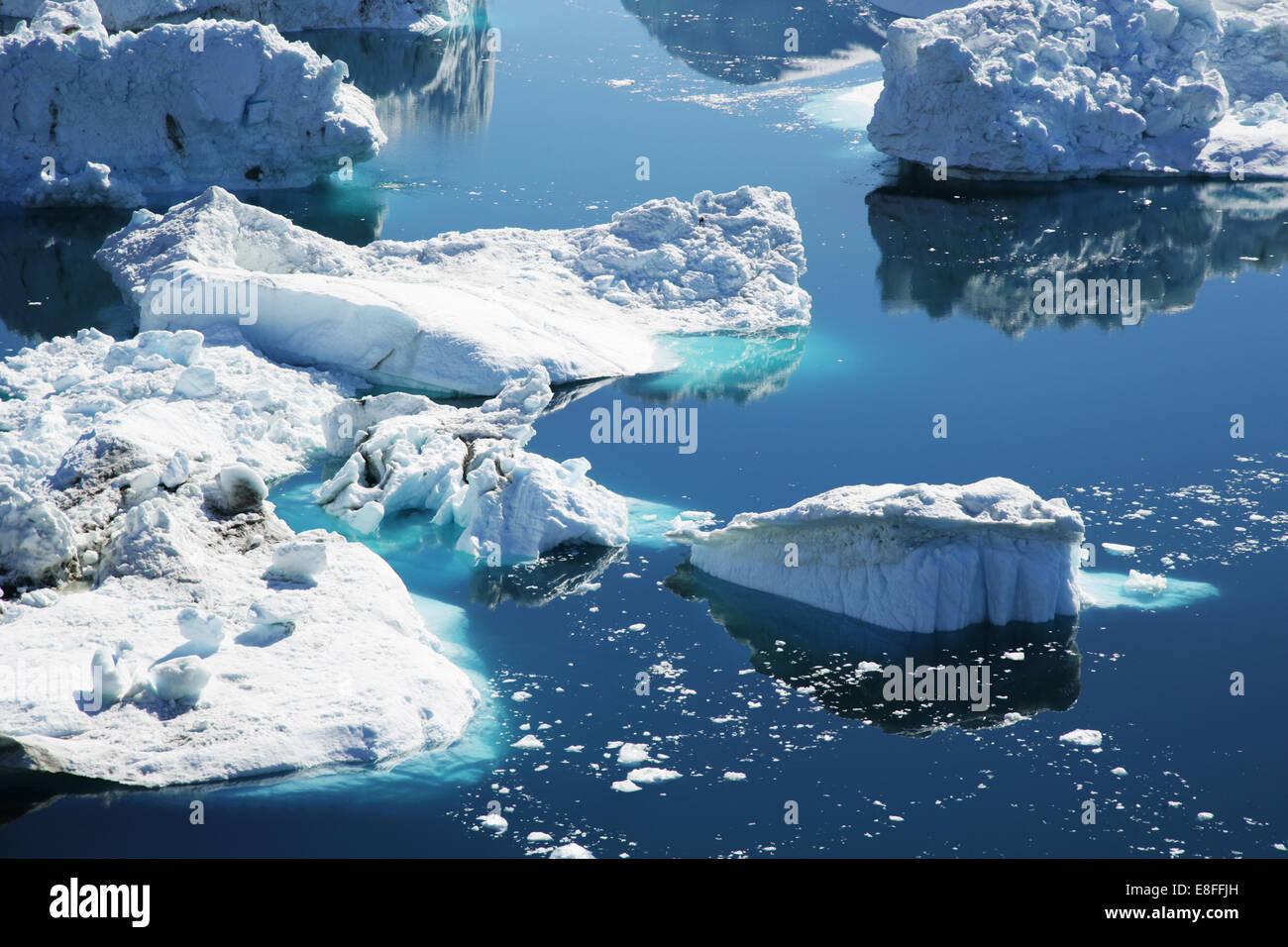 Gros plan des icebergs dans la baie de Disko, Ilulissat, Groenland Banque D'Images