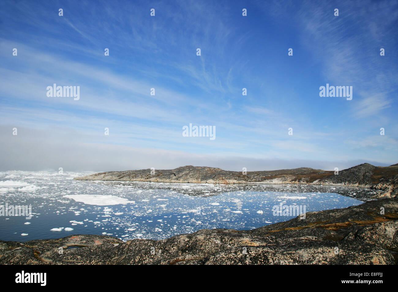 Icebergs dans la baie de Disko, Ilulissat, Groenland. Banque D'Images