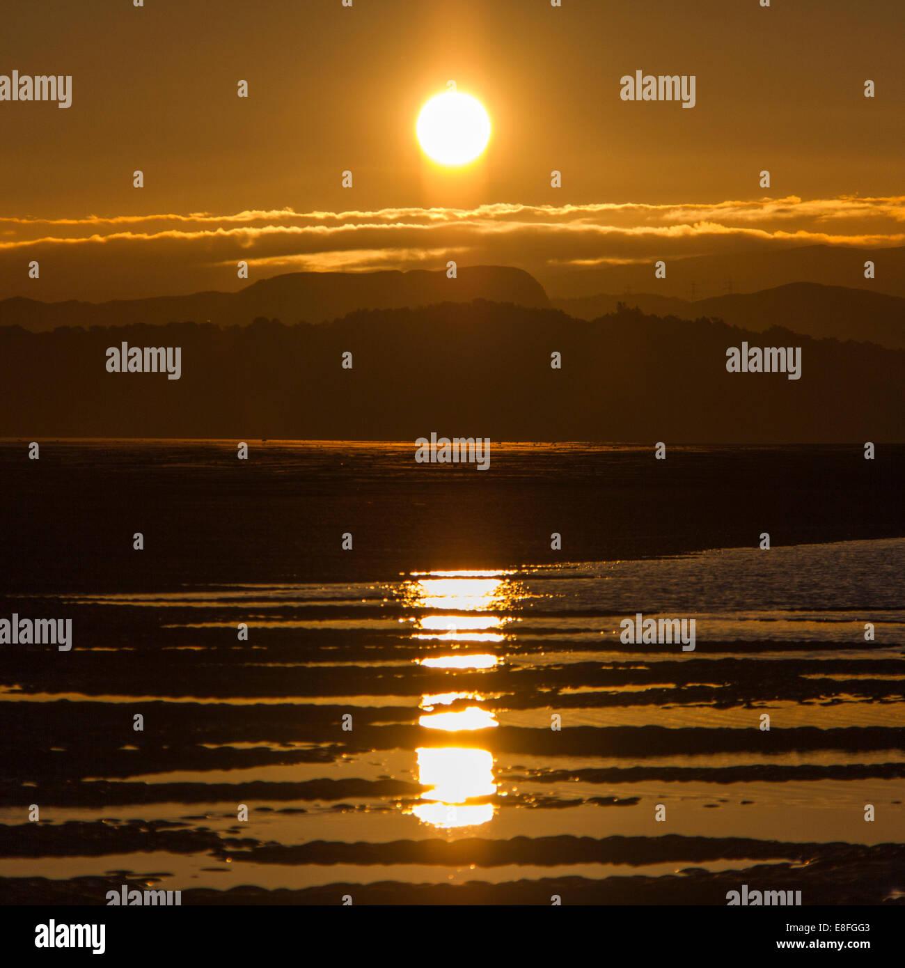 Paysage avec bien reflétée dans les flaques Photo Stock