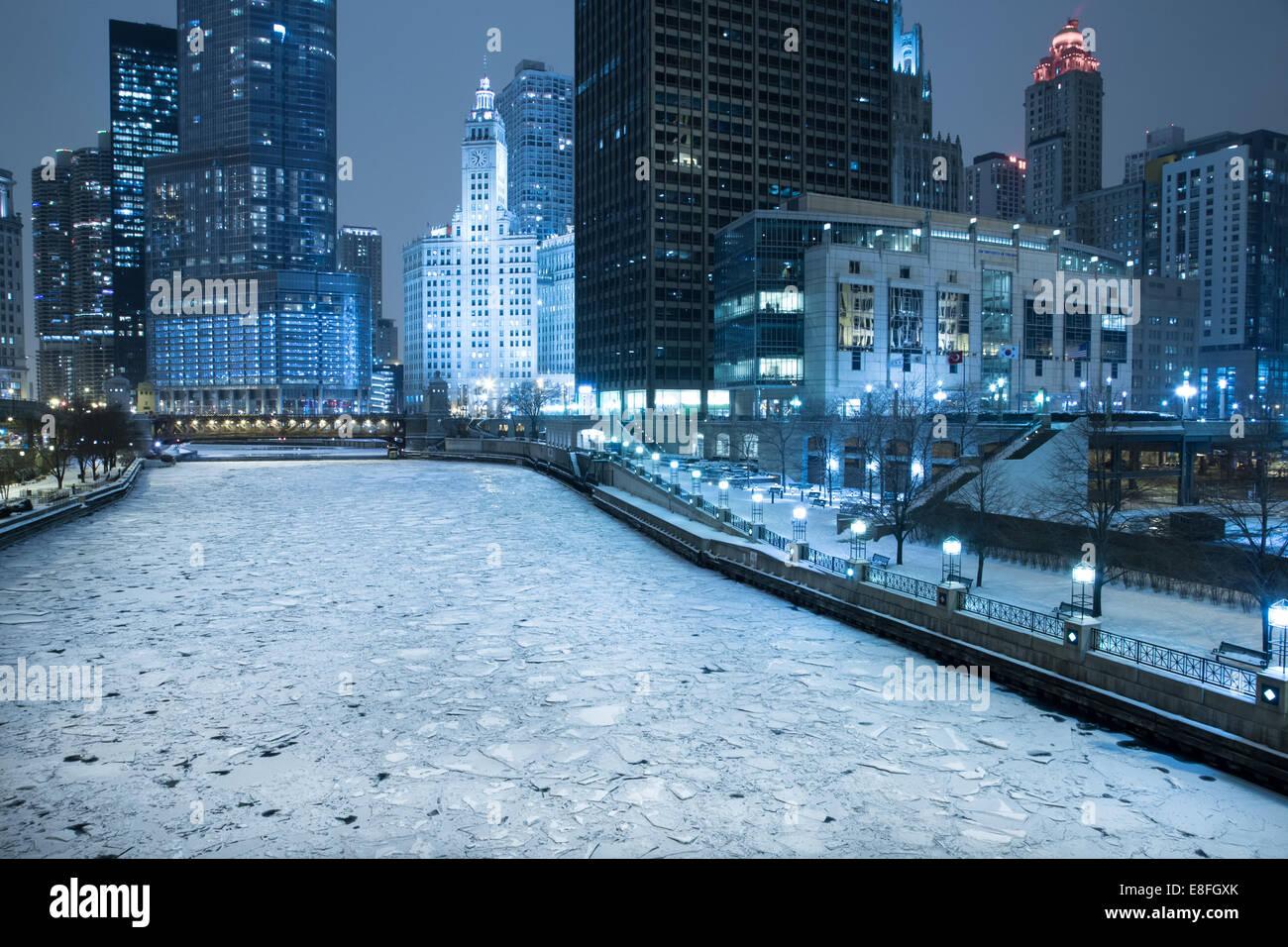 Ville de Chicago en hiver, Illinois, États-Unis Banque D'Images
