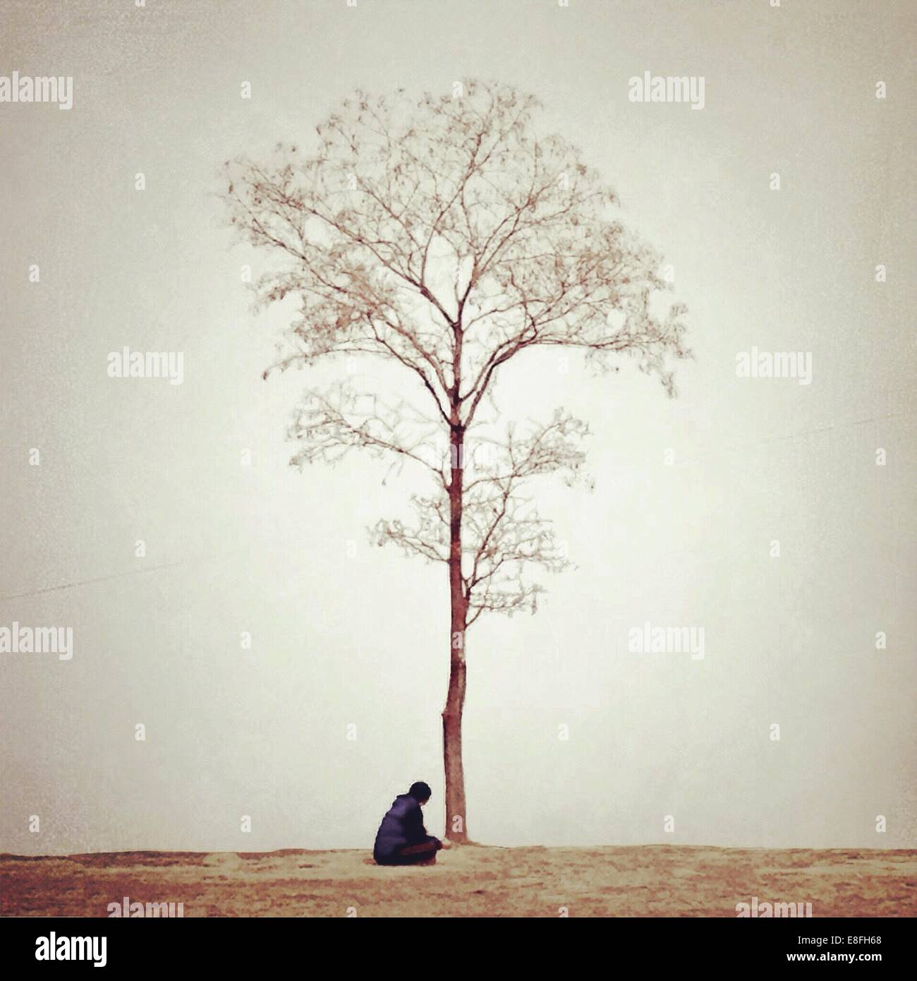 Woman sitting under tree Photo Stock