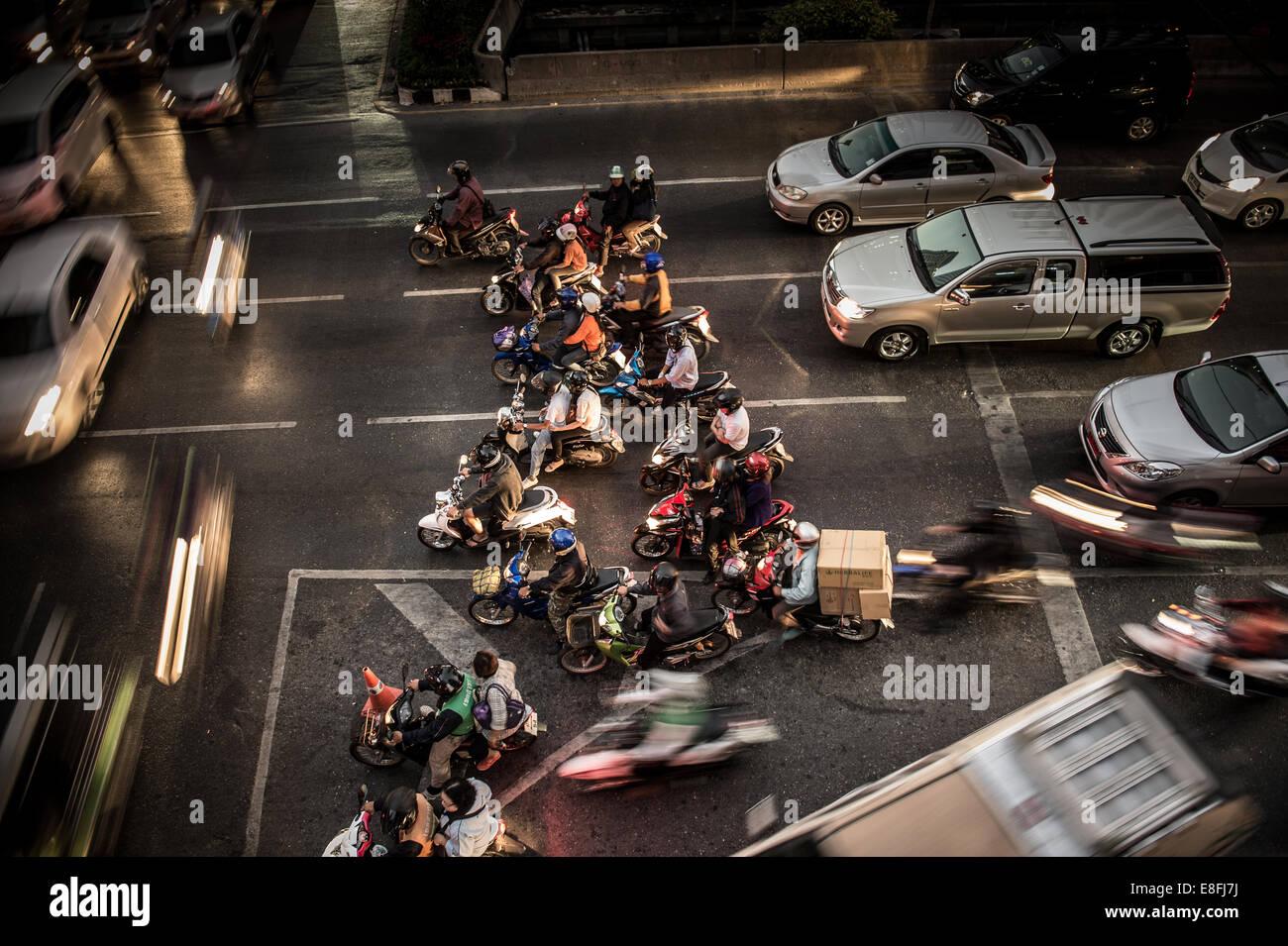 Thaïlande, Bangkok, High angle view of traffic jam Photo Stock