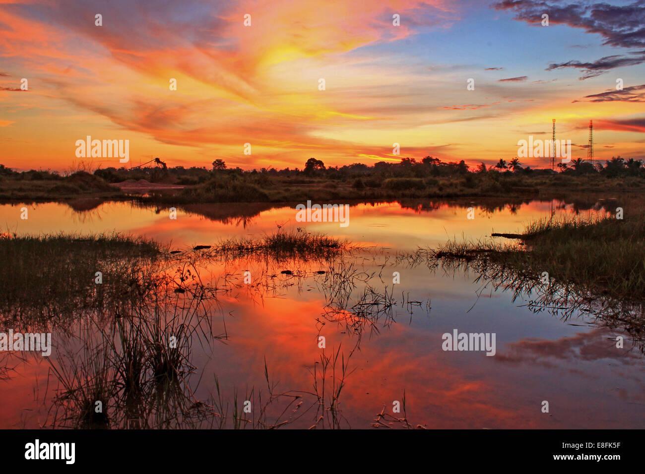 Cempaka, Bornéo Kalimantan du Sud, du Sud, en Asie du Sud-Est avant la pluie Photo Stock