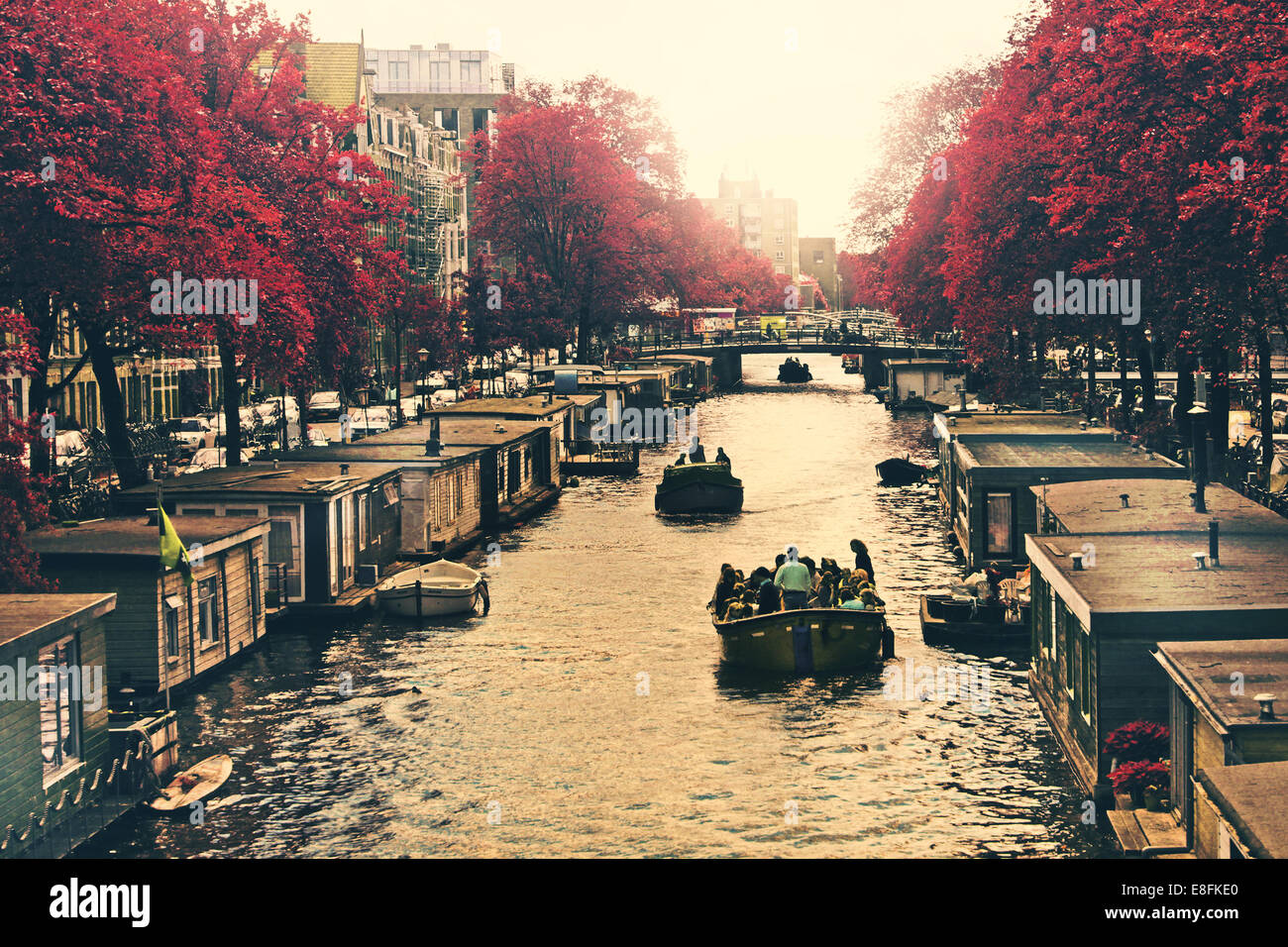 La Hollande, Amsterdam, Houseboats sur canal Photo Stock