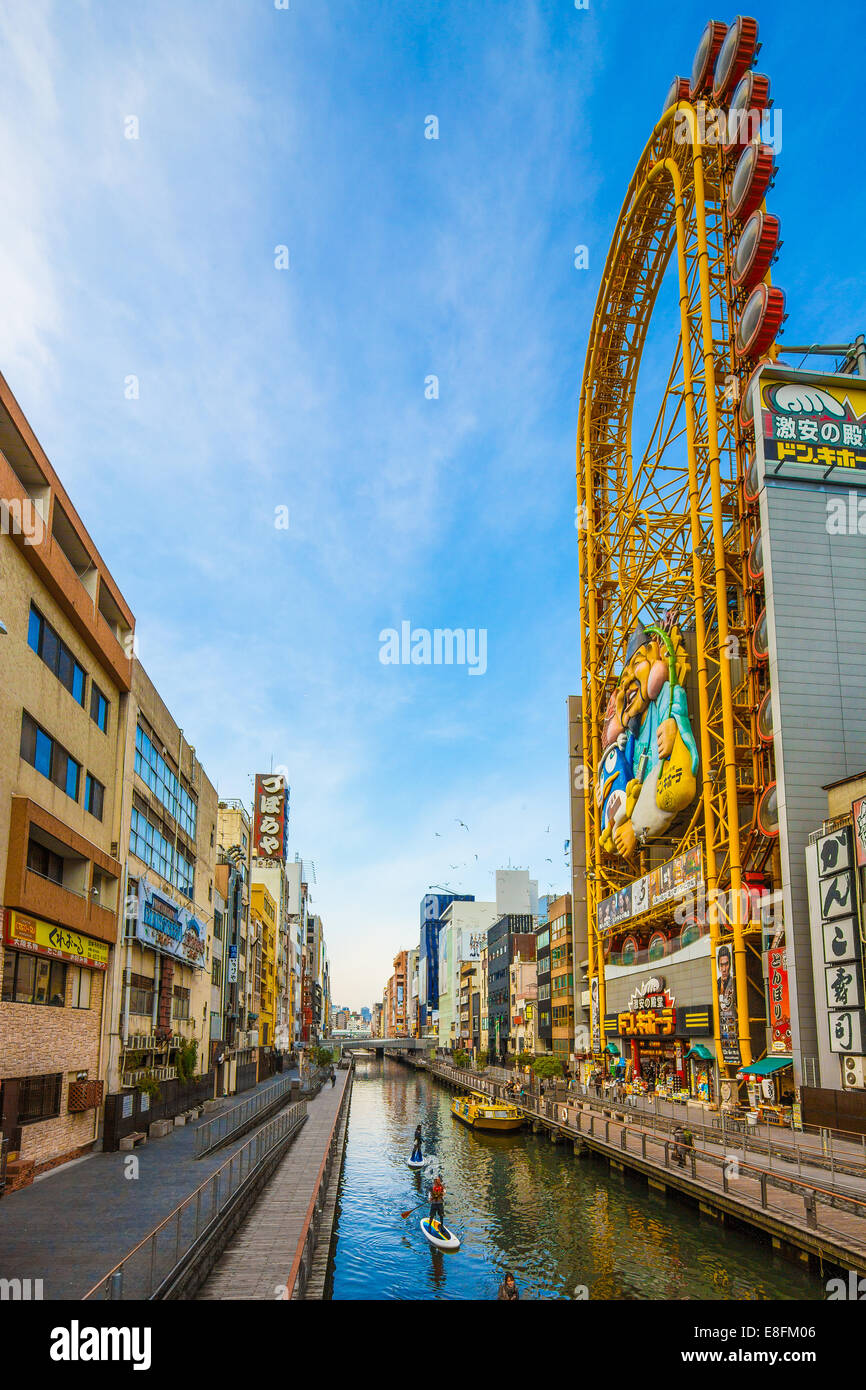 Japon, Osaka, Dotonbori, Canal Photo Stock