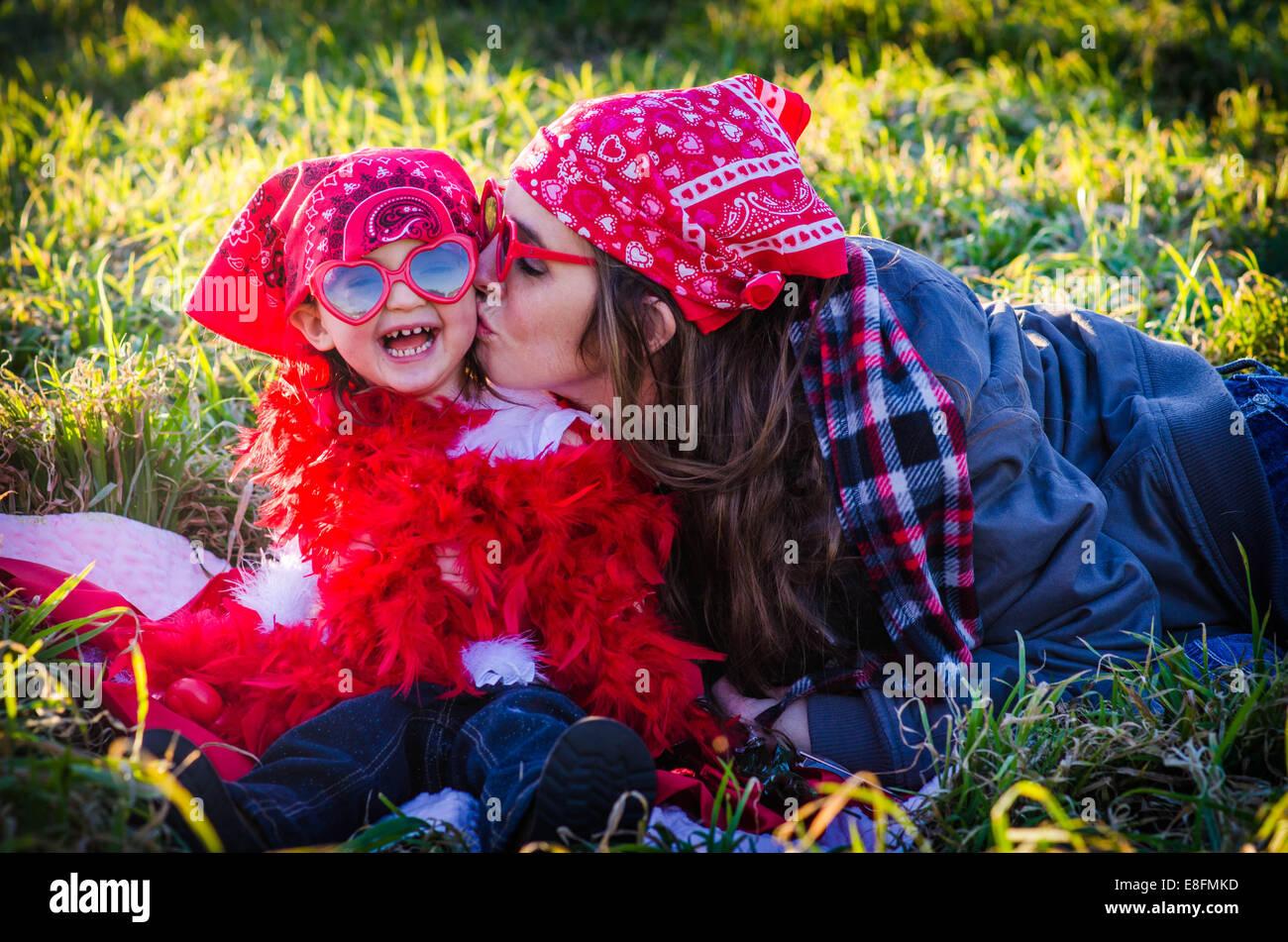Texas, États-Unis d'Amérique l'amour d'une mère et fille Photo Stock