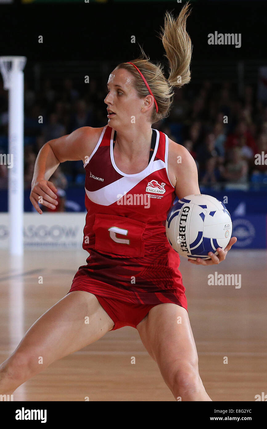 Sara Bayman (FRA) en action - le netball - SECC Glasgow - Écosse, Royaume-Uni - 250714 - Jeux du Commonwealth Photo Stock