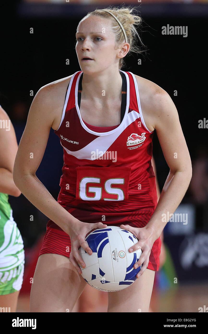 Joanne Harten (FRA) en action - le netball - SECC Glasgow - Écosse, Royaume-Uni - 250714 - Jeux du Commonwealth Photo Stock