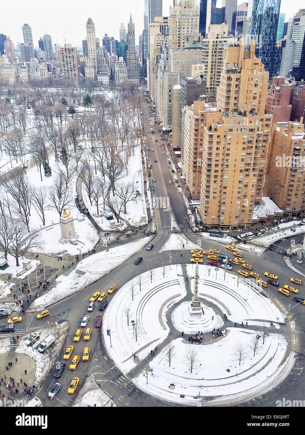 Vue aérienne de Columbus Circle, Manhattan, New York, Amérique, USA Photo Stock